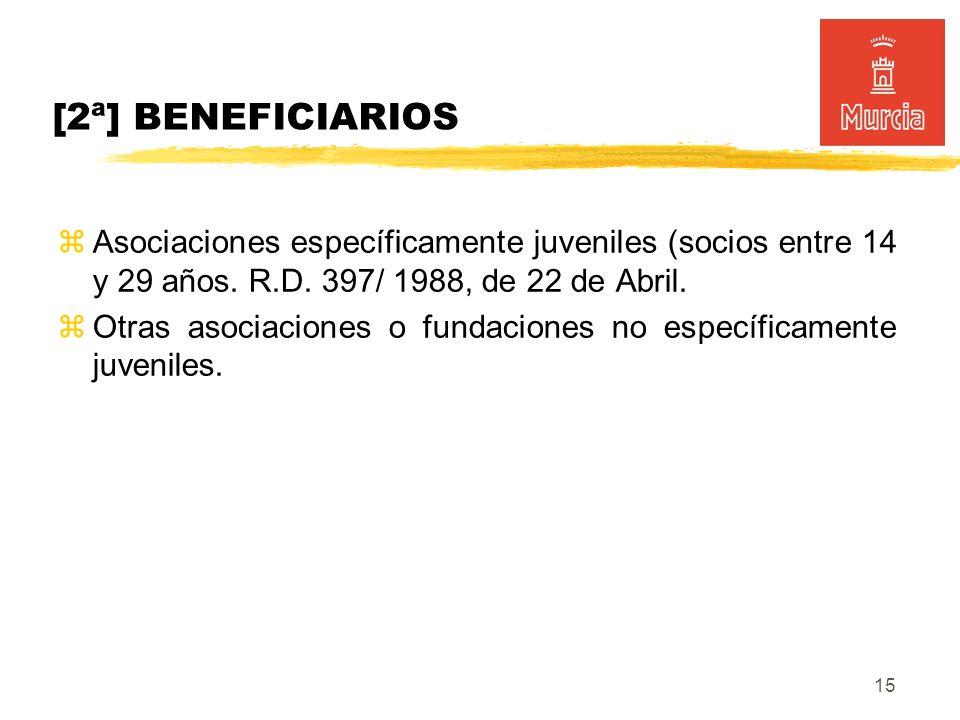 15 [2ª] BENEFICIARIOS Asociaciones específicamente juveniles (socios entre 14 y 29 años.