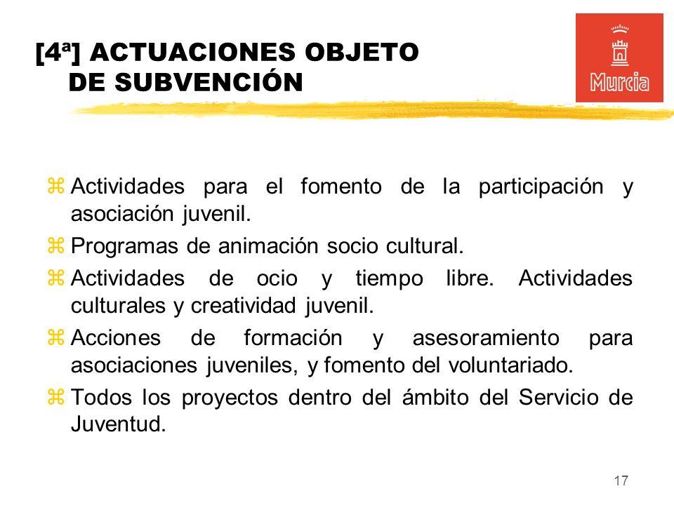 17 Actividades para el fomento de la participación y asociación juvenil.