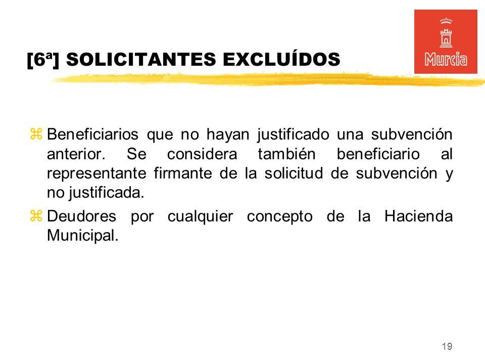 19 Beneficiarios que no hayan justificado una subvención anterior.