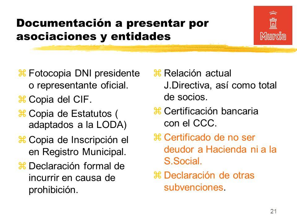 21 Documentación a presentar por asociaciones y entidades Fotocopia DNI presidente o representante oficial.