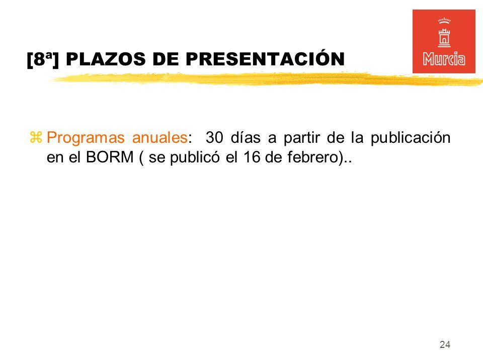 24 [8ª] PLAZOS DE PRESENTACIÓN Programas anuales: 30 días a partir de la publicación en el BORM ( se publicó el 16 de febrero)..
