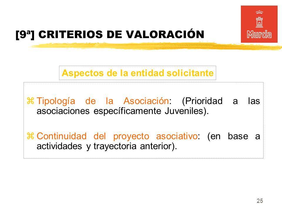 25 [9ª] CRITERIOS DE VALORACIÓN Tipología de la Asociación: (Prioridad a las asociaciones específicamente Juveniles).