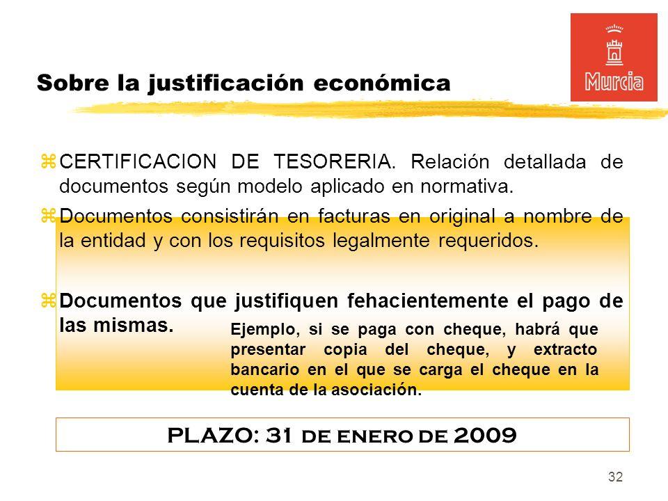 32 Sobre la justificación económica CERTIFICACION DE TESORERIA.