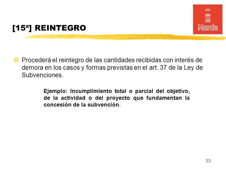 33 [15ª] REINTEGRO Procederá el reintegro de las cantidades recibidas con interés de demora en los casos y formas previstas en el art.