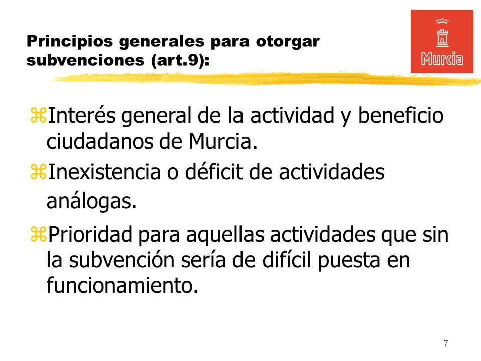 7 Principios generales para otorgar subvenciones (art.9): Interés general de la actividad y beneficio ciudadanos de Murcia.