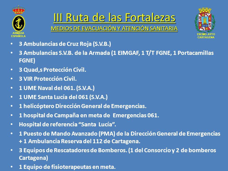 ARMADA ESPAÑOLA EXCMO. AYTO CARTAGENA III Ruta de las Fortalezas MEDIOS DE EVACUACIÓN Y ATENCIÓN SANITARIA 3 Ambulancias de Cruz Roja (S.V.B.) 3 Ambul