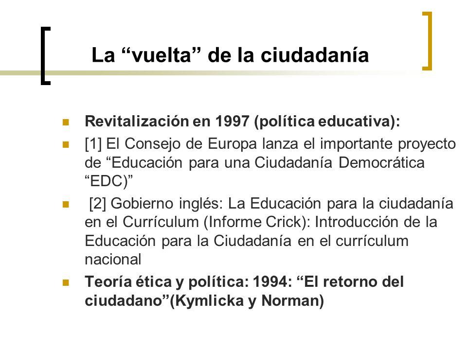 La vuelta de la ciudadanía Revitalización en 1997 (política educativa): [1] El Consejo de Europa lanza el importante proyecto de Educación para una Ci