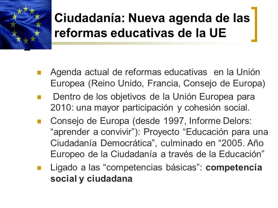 Ciudadanía: Nueva agenda de las reformas educativas de la UE Agenda actual de reformas educativas en la Unión Europea (Reino Unido, Francia, Consejo d