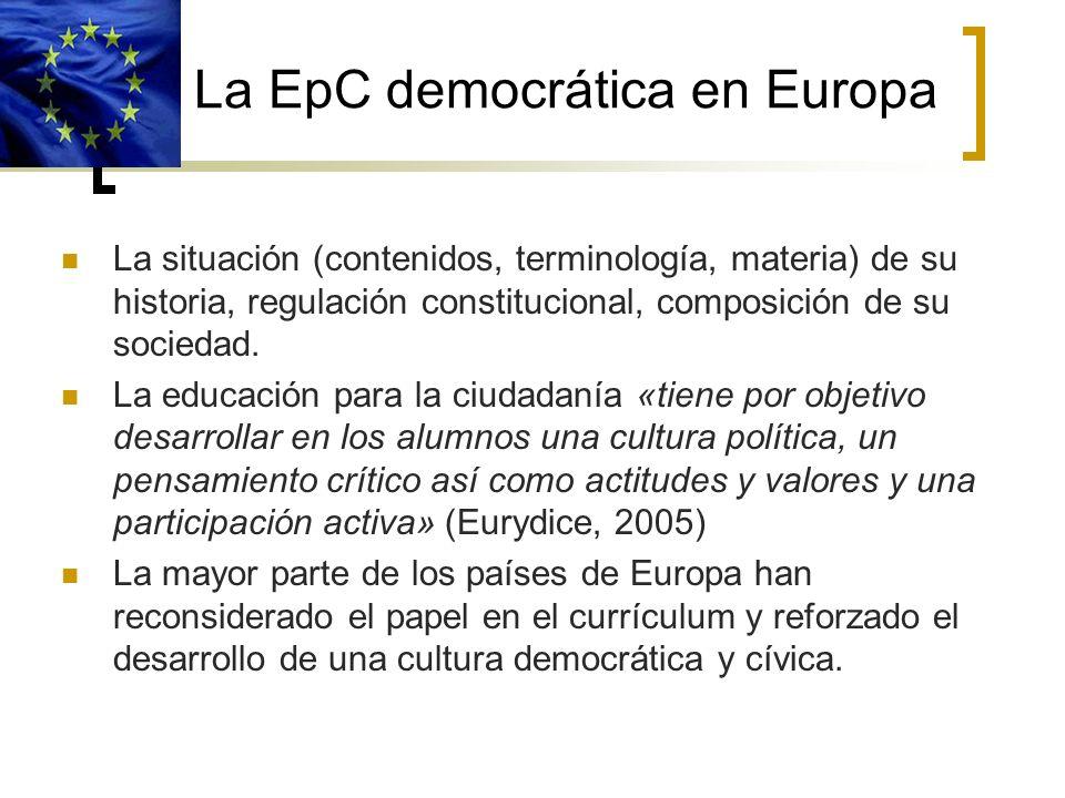 La EpC democrática en Europa La situación (contenidos, terminología, materia) de su historia, regulación constitucional, composición de su sociedad. L