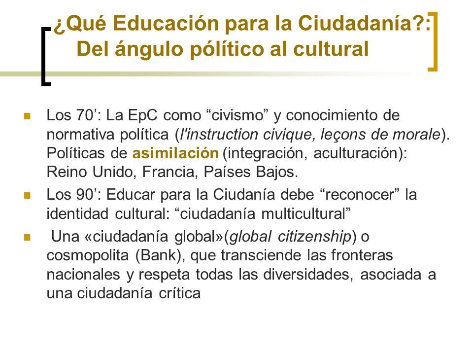 ¿Qué Educación para la Ciudadanía?: Del ángulo pólítico al cultural Los 70: La EpC como civismo y conocimiento de normativa política (l'instruction ci