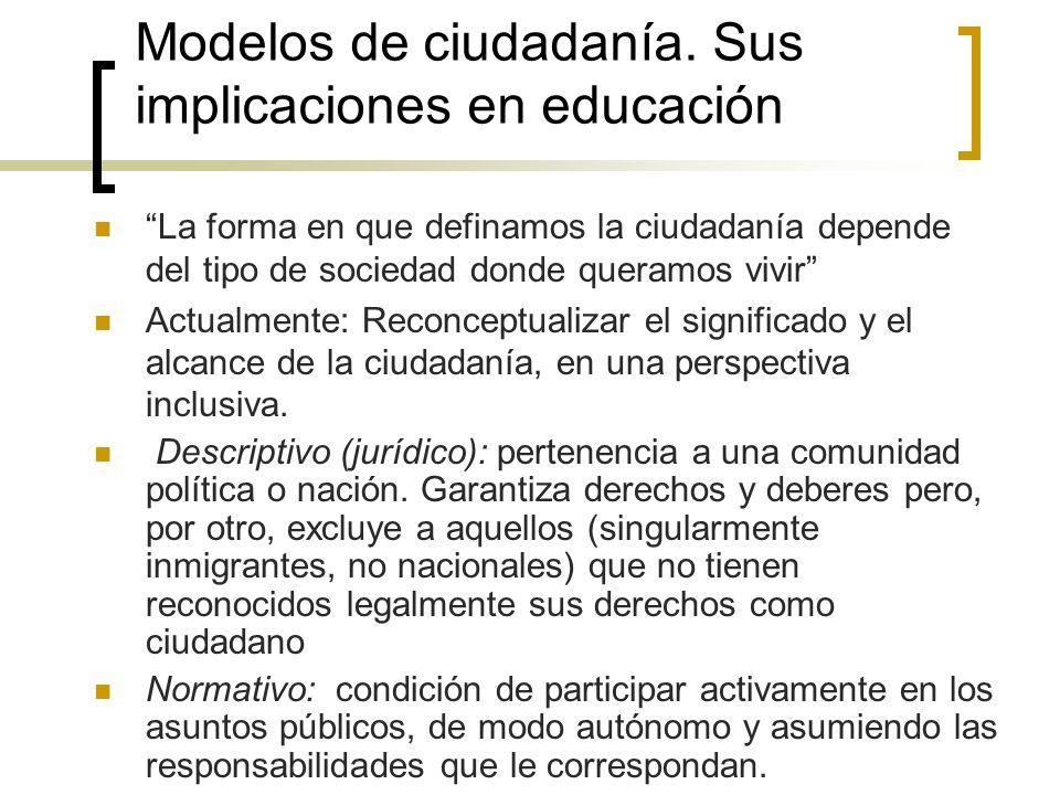 Modelos de ciudadanía. Sus implicaciones en educación La forma en que definamos la ciudadanía depende del tipo de sociedad donde queramos vivir Actual