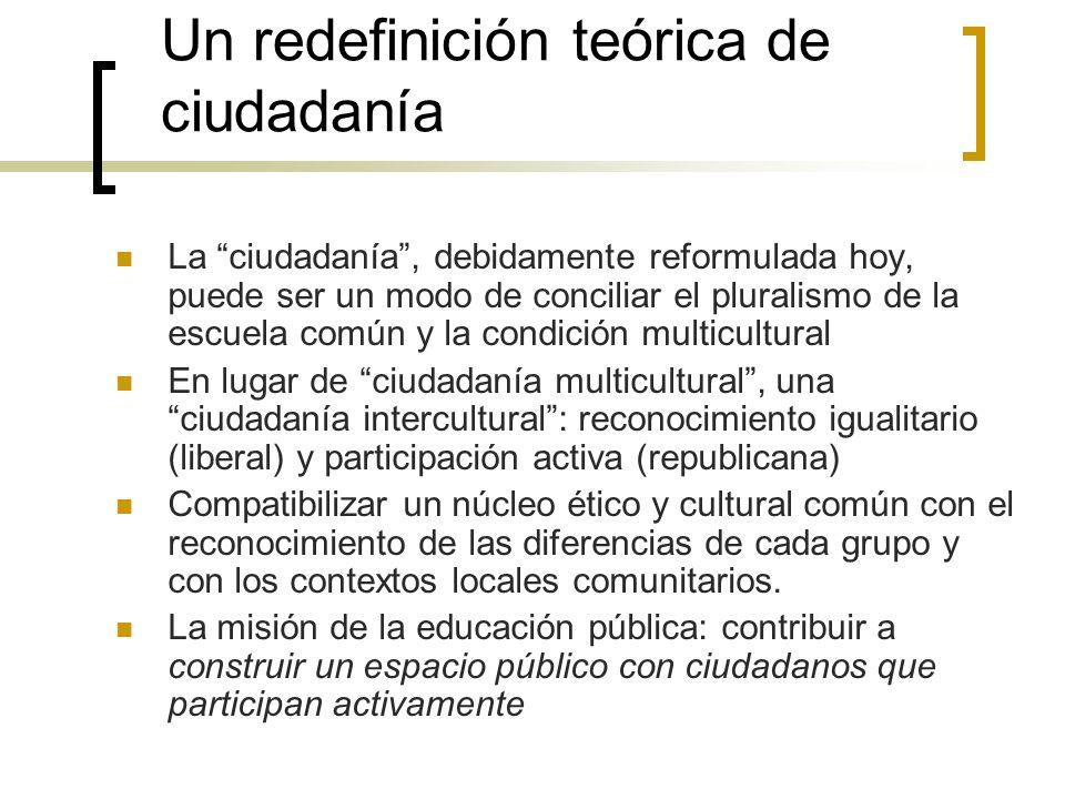 Un redefinición teórica de ciudadanía La ciudadanía, debidamente reformulada hoy, puede ser un modo de conciliar el pluralismo de la escuela común y l