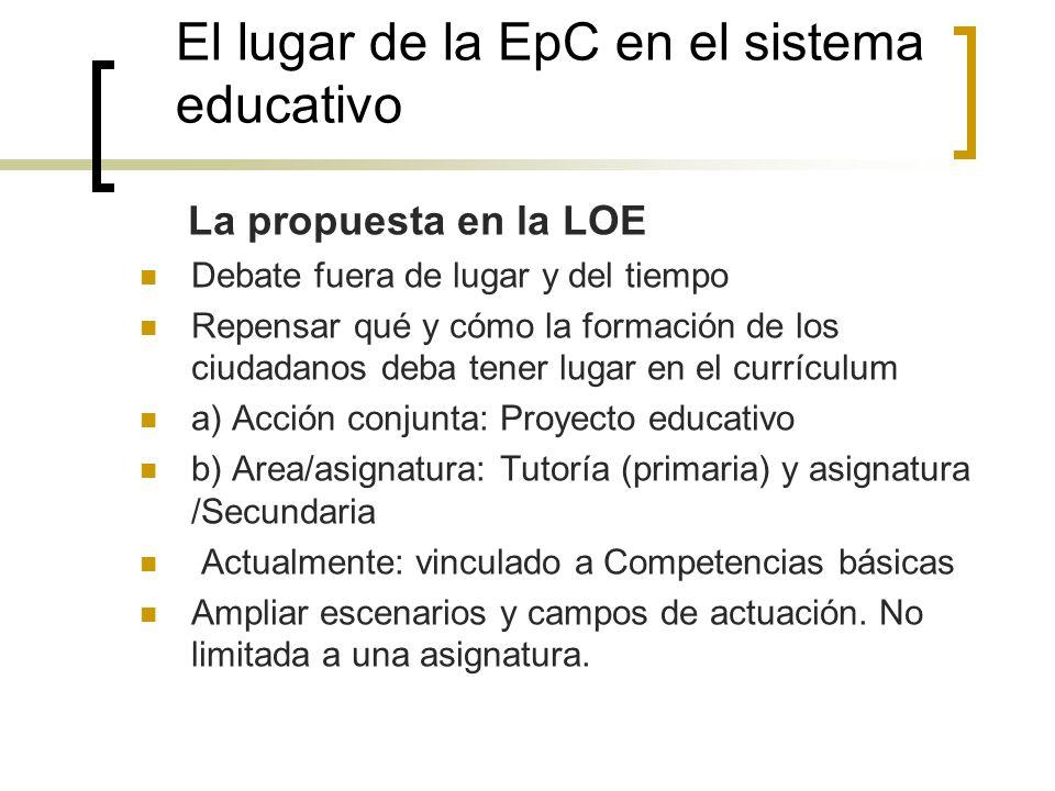 El lugar de la EpC en el sistema educativo La propuesta en la LOE Debate fuera de lugar y del tiempo Repensar qué y cómo la formación de los ciudadano