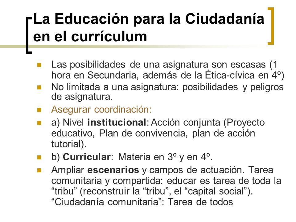La Educación para la Ciudadanía en el currículum Las posibilidades de una asignatura son escasas (1 hora en Secundaria, además de la Ética-cívica en 4