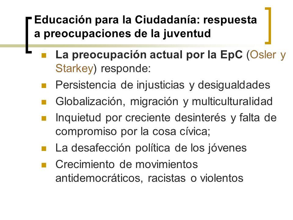 Educación para la Ciudadanía: respuesta a preocupaciones de la juventud La preocupación actual por la EpC (Osler y Starkey) responde: Persistencia de