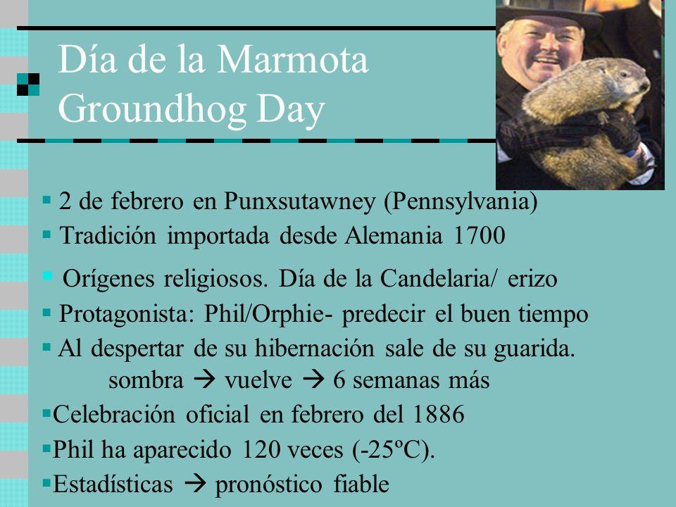 Día de la Marmota Groundhog Day 2 de febrero en Punxsutawney (Pennsylvania) Tradición importada desde Alemania 1700 Orígenes religiosos. Día de la Can