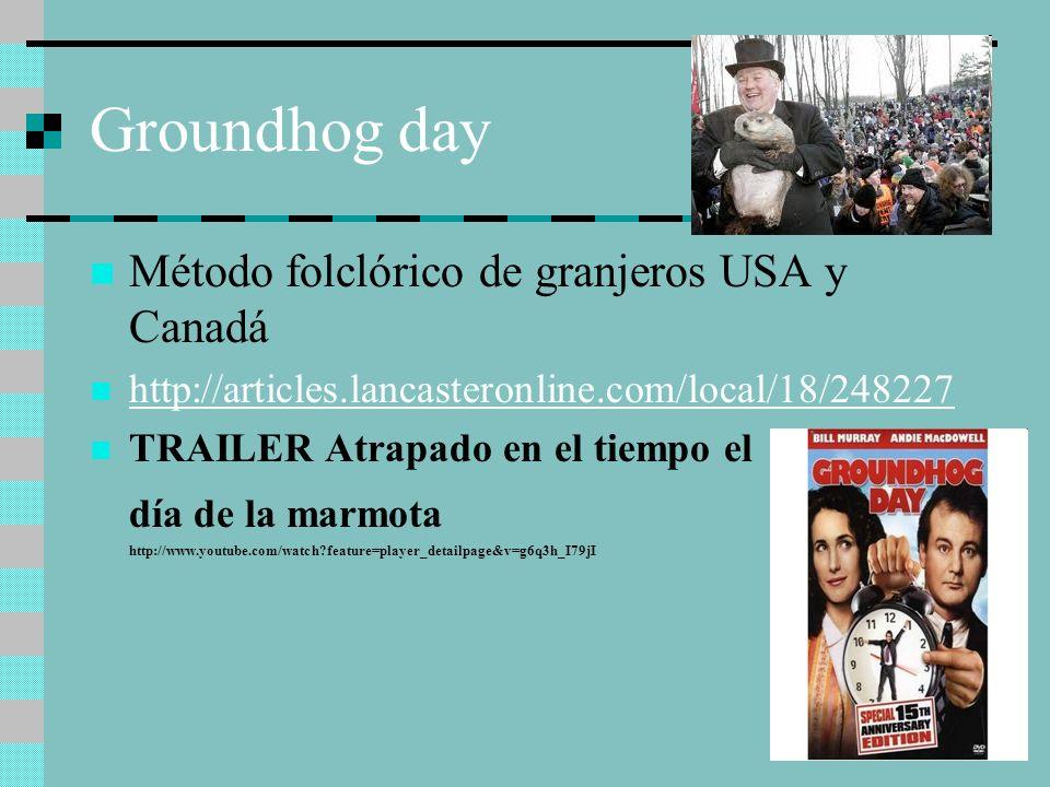 Groundhog day Método folclórico de granjeros USA y Canadá http://articles.lancasteronline.com/local/18/248227 TRAILER Atrapado en el tiempo el día de