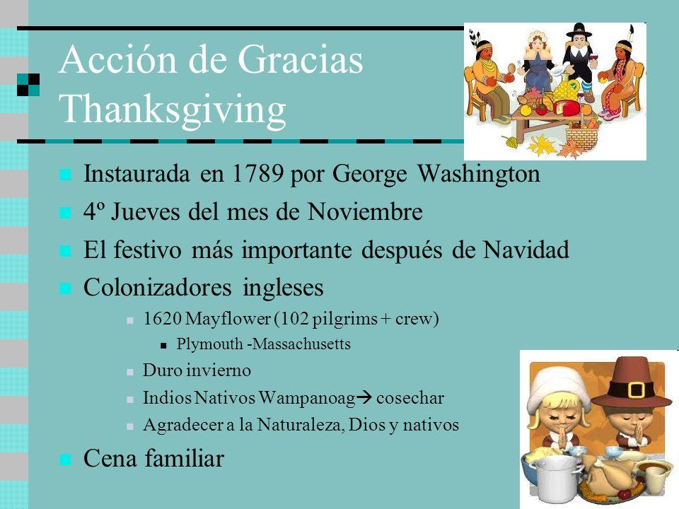 Acción de Gracias Thanksgiving Instaurada en 1789 por George Washington 4º Jueves del mes de Noviembre El festivo más importante después de Navidad Co
