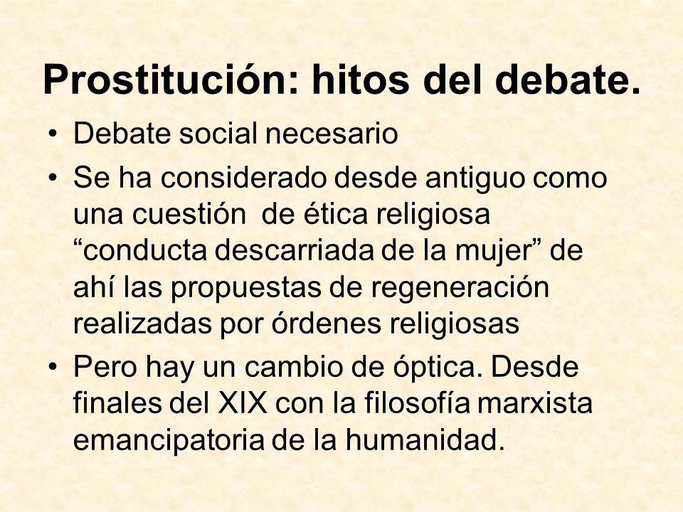 Prostitución: hitos del debate. Debate social necesario Se ha considerado desde antiguo como una cuestión de ética religiosa conducta descarriada de l