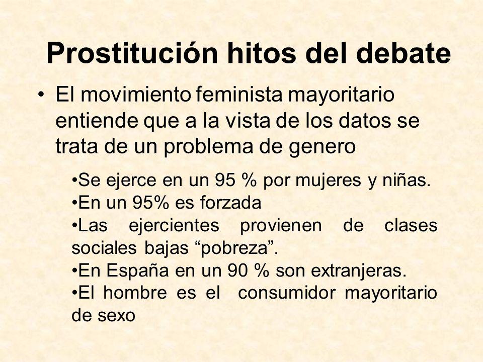 Prostitución hitos del debate El movimiento feminista mayoritario entiende que a la vista de los datos se trata de un problema de genero Se ejerce en