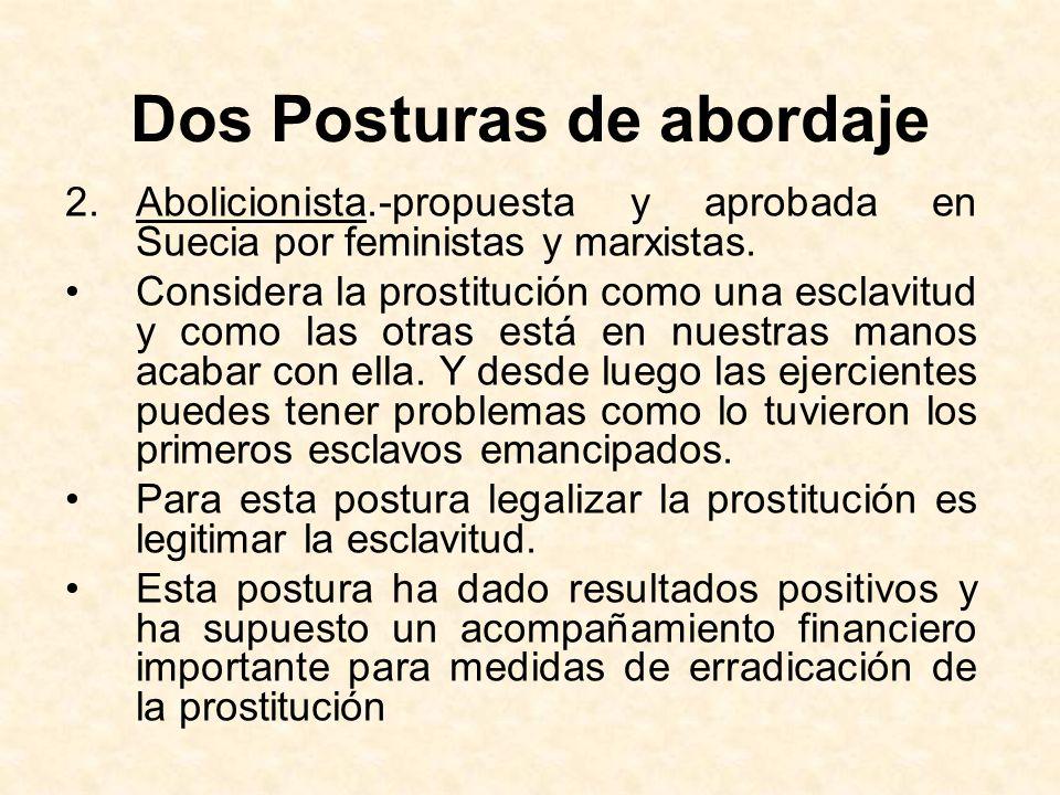 Dos Posturas de abordaje 2.Abolicionista.-propuesta y aprobada en Suecia por feministas y marxistas. Considera la prostitución como una esclavitud y c