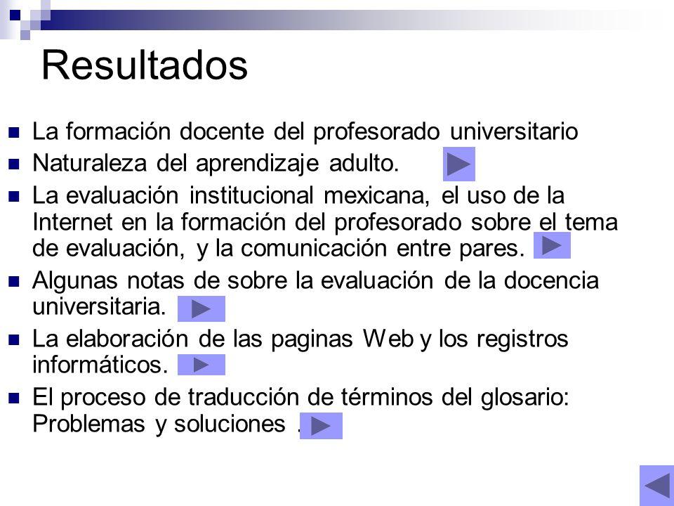 Resultados La formación docente del profesorado universitario Naturaleza del aprendizaje adulto.