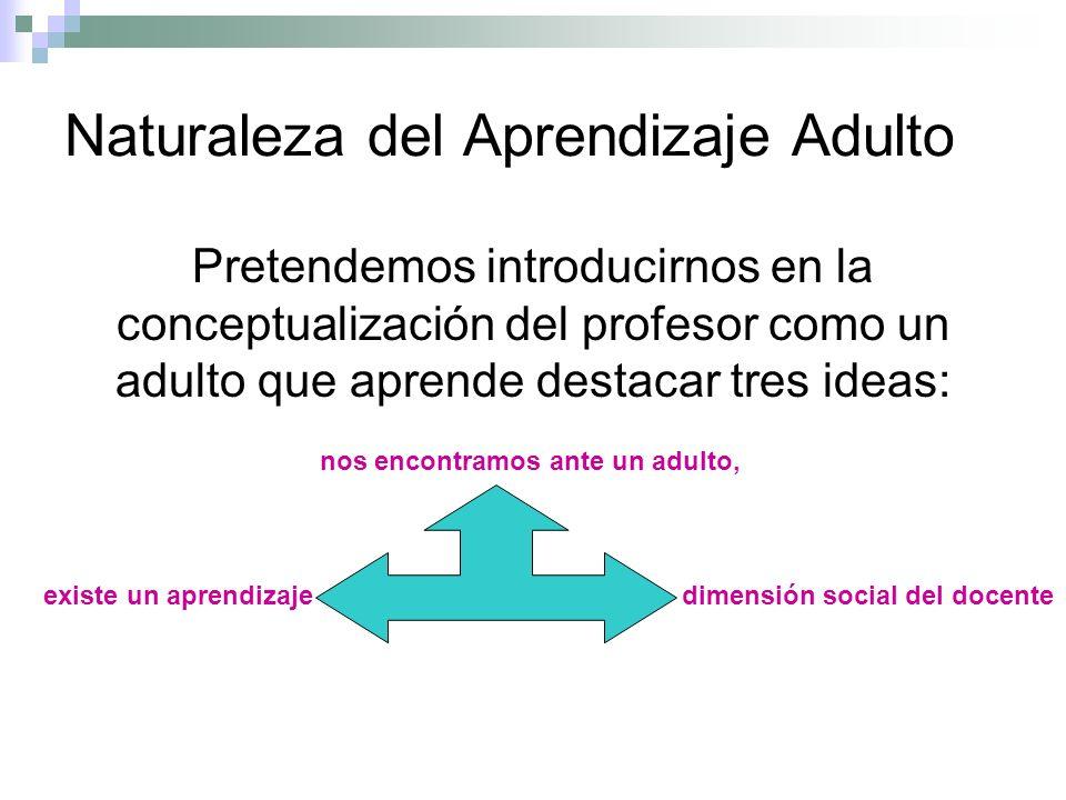 Naturaleza del Aprendizaje Adulto Pretendemos introducirnos en la conceptualización del profesor como un adulto que aprende destacar tres ideas: nos encontramos ante un adulto, existe un aprendizaje dimensión social del docente