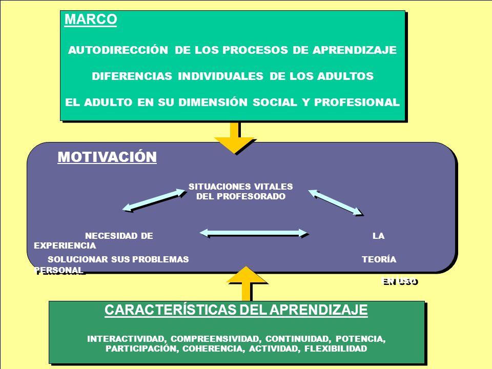 MOTIVACIÓN SITUACIONES VITALES DEL PROFESORADO NECESIDAD DE LA EXPERIENCIA SOLUCIONAR SUS PROBLEMAS TEORÍA PERSONAL EN USO MOTIVACIÓN SITUACIONES VITALES DEL PROFESORADO NECESIDAD DE LA EXPERIENCIA SOLUCIONAR SUS PROBLEMAS TEORÍA PERSONAL EN USO CARACTERÍSTICAS DEL APRENDIZAJE INTERACTIVIDAD, COMPREENSIVIDAD, CONTINUIDAD, POTENCIA, PARTICIPACIÓN, COHERENCIA, ACTIVIDAD, FLEXIBILIDAD CARACTERÍSTICAS DEL APRENDIZAJE INTERACTIVIDAD, COMPREENSIVIDAD, CONTINUIDAD, POTENCIA, PARTICIPACIÓN, COHERENCIA, ACTIVIDAD, FLEXIBILIDAD MARCO AUTODIRECCIÓN DE LOS PROCESOS DE APRENDIZAJE DIFERENCIAS INDIVIDUALES DE LOS ADULTOS EL ADULTO EN SU DIMENSIÓN SOCIAL Y PROFESIONAL MARCO AUTODIRECCIÓN DE LOS PROCESOS DE APRENDIZAJE DIFERENCIAS INDIVIDUALES DE LOS ADULTOS EL ADULTO EN SU DIMENSIÓN SOCIAL Y PROFESIONAL
