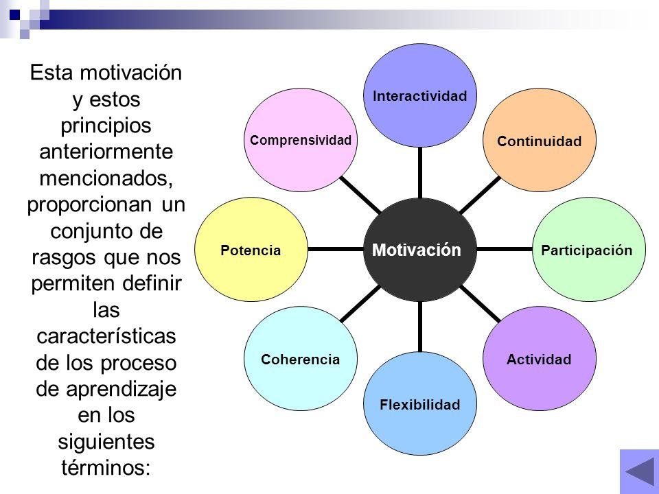 Esta motivación y estos principios anteriormente mencionados, proporcionan un conjunto de rasgos que nos permiten definir las características de los proceso de aprendizaje en los siguientes términos: Motivación InteractividadContinuidadParticipaciónActividadFlexibilidadCoherenciaPotenciaComprensividad