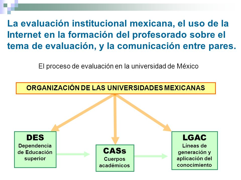 La evaluación institucional mexicana, el uso de la Internet en la formación del profesorado sobre el tema de evaluación, y la comunicación entre pares.