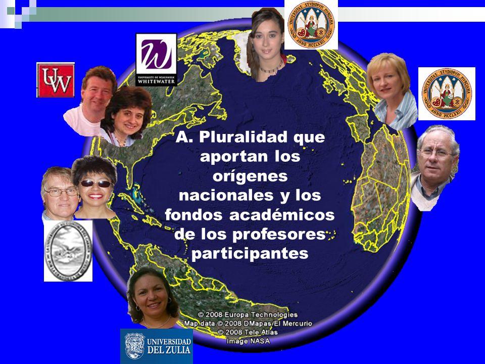 A. Pluralidad que aportan los orígenes nacionales y los fondos académicos de los profesores participantes