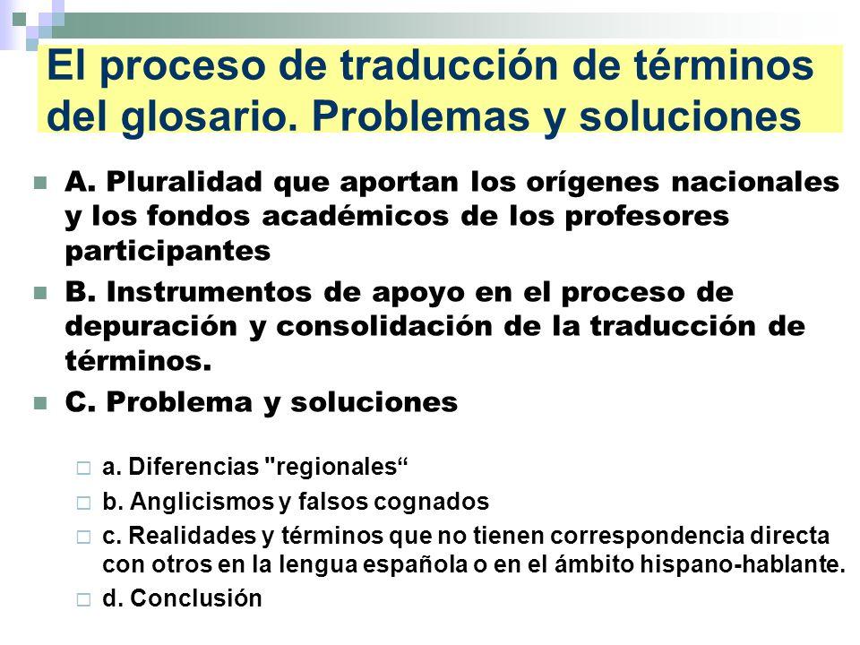 El proceso de traducción de términos del glosario.