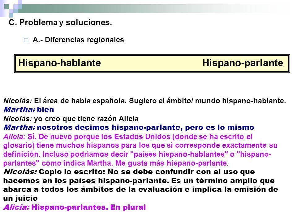 Hispano-hablante Hispano-parlante Nicolás: El área de habla española.