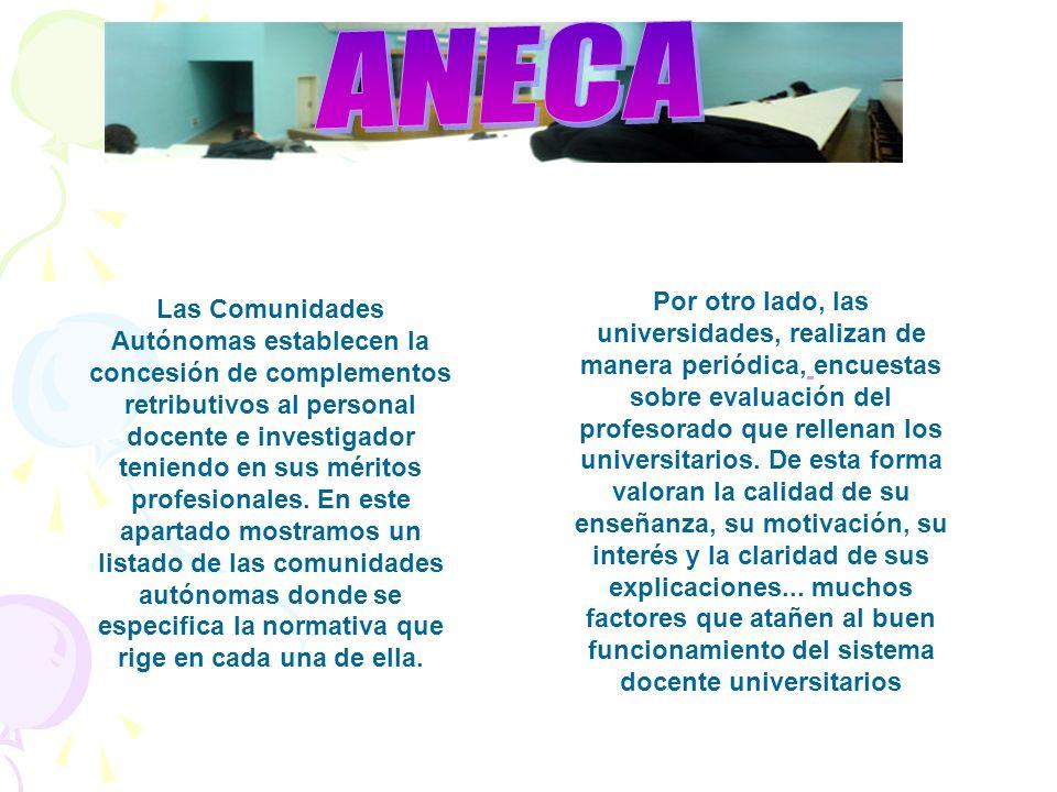 Las Comunidades Autónomas establecen la concesión de complementos retributivos al personal docente e investigador teniendo en sus méritos profesionales.