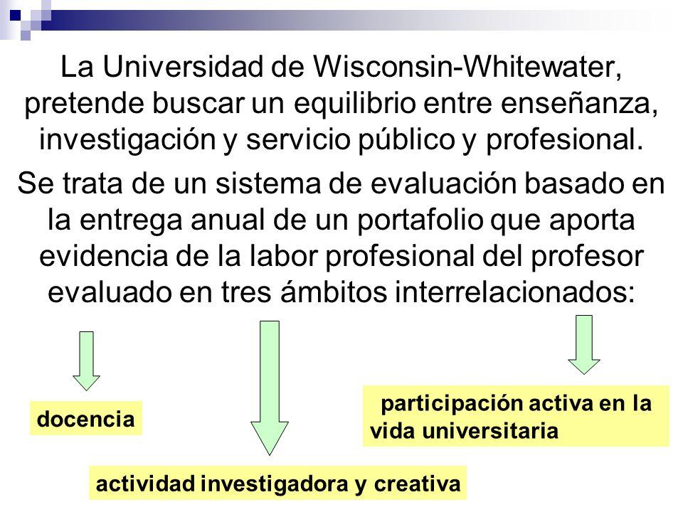 La Universidad de Wisconsin-Whitewater, pretende buscar un equilibrio entre enseñanza, investigación y servicio público y profesional.