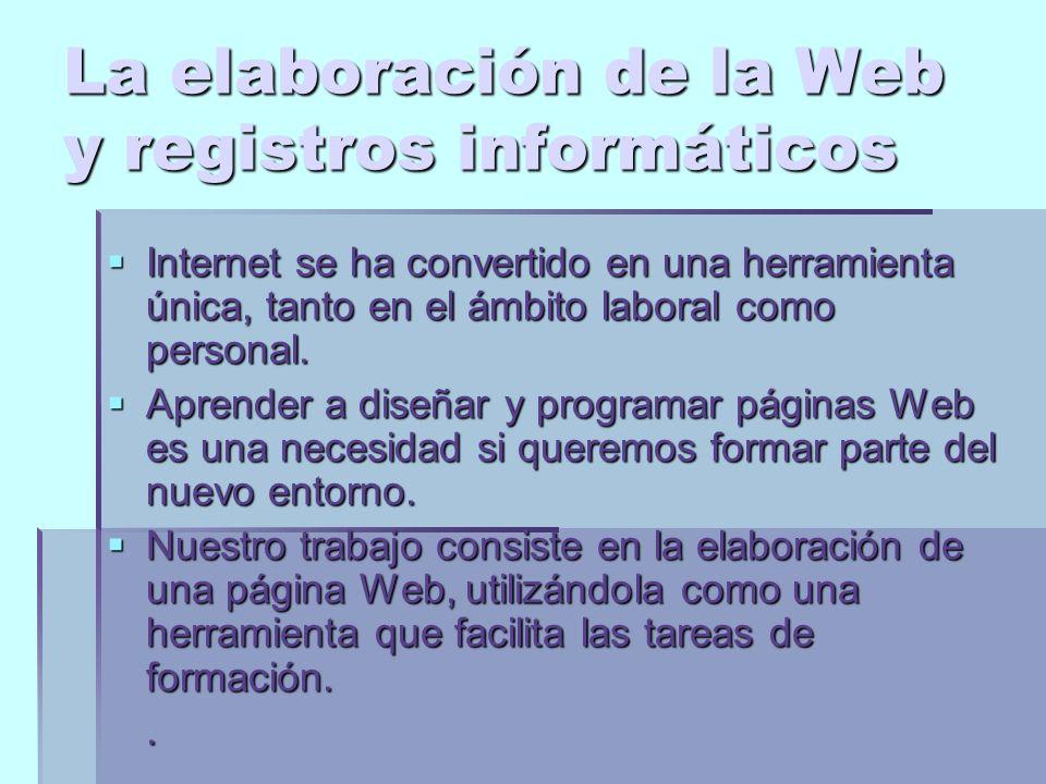La elaboración de la Web y registros informáticos Internet se ha convertido en una herramienta única, tanto en el ámbito laboral como personal.