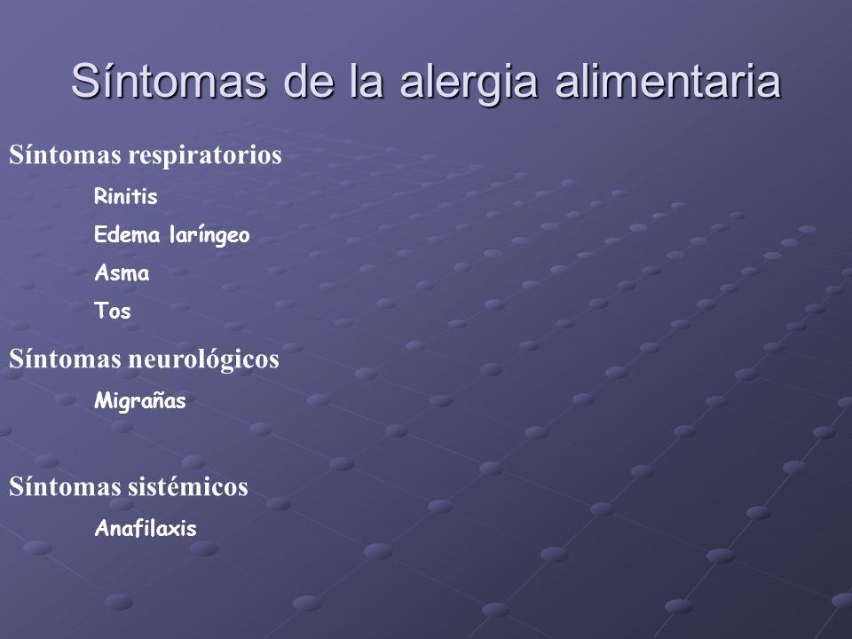 Manifestaciones clínicas de la alergia alimentaria Orofaríngeos/gastrointestinales Náusea y dolores abdominales Vómitos Diarrea Cólico Angioedema Cutá