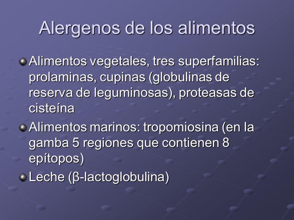 Alergenos de los alimentos Legumbres (cacahuetes y soja) Moluscos y crustáceos LecheHuevosPescado Trigo y otros cereales Frutos secos Semillas de sésa