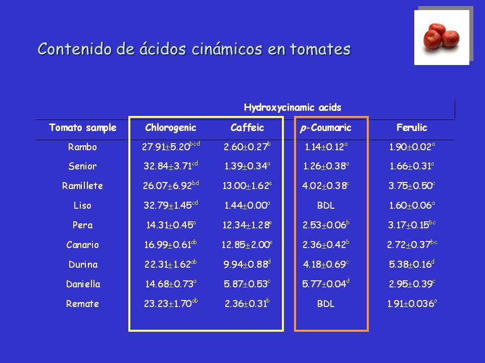 Contenido de flavonoides en tomates