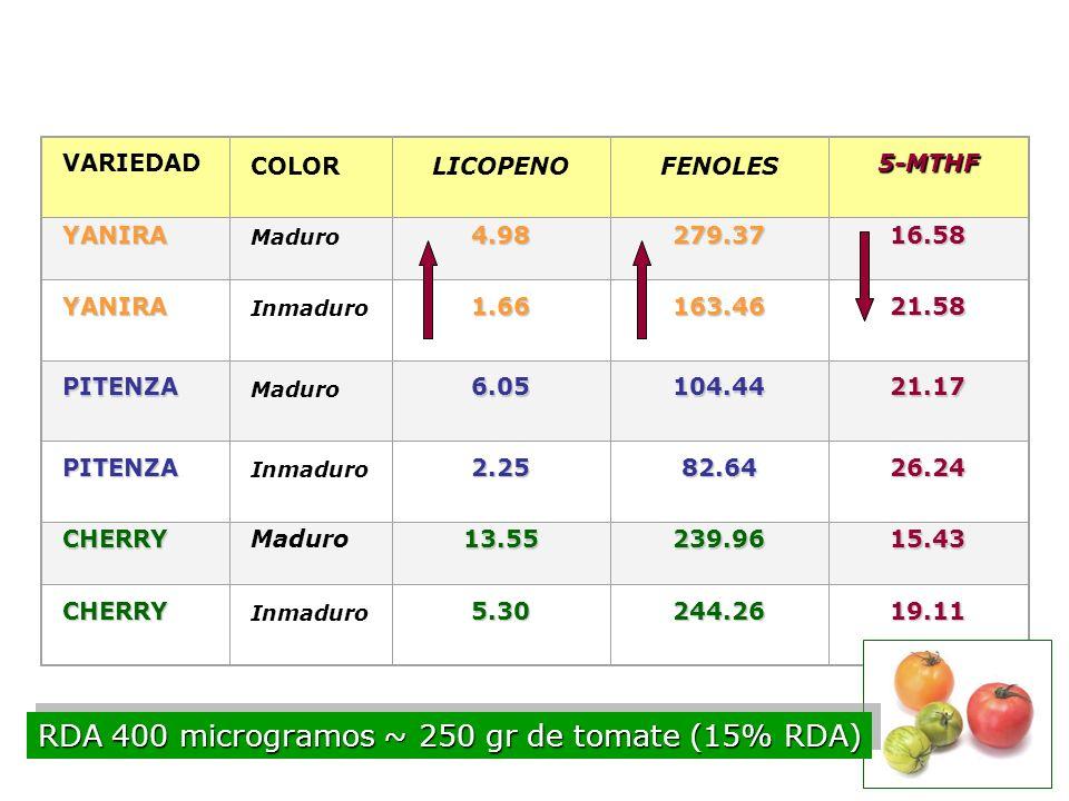 FOLATOS Factores que afectan al contenido de folatos O2O2O2O2pH Concentración de antioxidantes Metales Procesado luz Tiempo y temperatura de almacenam