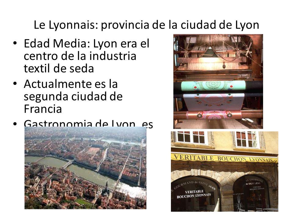 Le Lyonnais: provincia de la ciudad de Lyon Edad Media: Lyon era el centro de la industria textil de seda Actualmente es la segunda ciudad de Francia