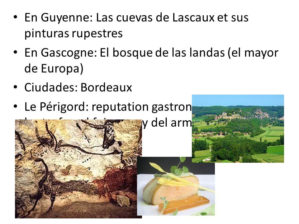 En Guyenne: Las cuevas de Lascaux et sus pinturas rupestres En Gascogne: El bosque de las landas (el mayor de Europa) Ciudades: Bordeaux Le Périgord: