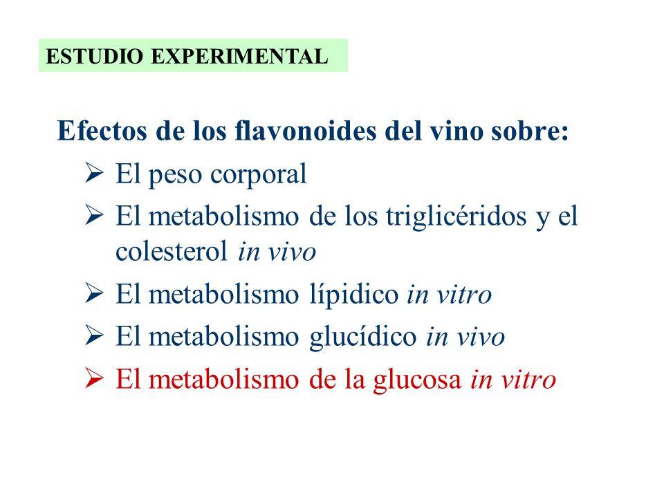 Efectos de los flavonoides del vino sobre: El peso corporal El metabolismo de los triglicéridos y el colesterol in vivo El metabolismo lípidico in vit