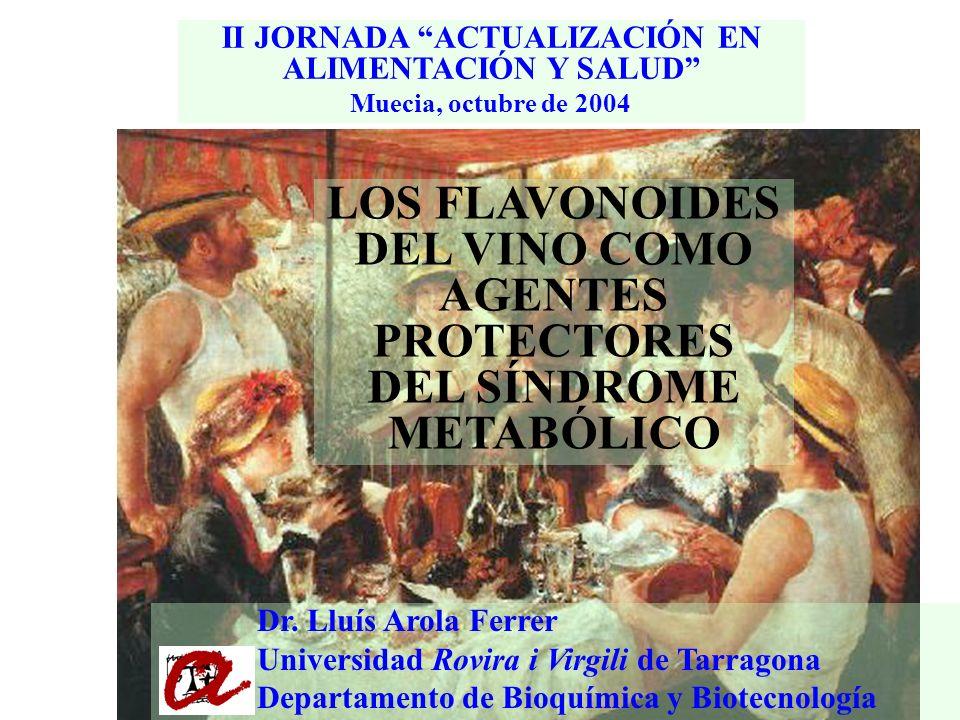 II JORNADA ACTUALIZACIÓN EN ALIMENTACIÓN Y SALUD Muecia, octubre de 2004 LOS FLAVONOIDES DEL VINO COMO AGENTES PROTECTORES DEL SÍNDROME METABÓLICO Dr.