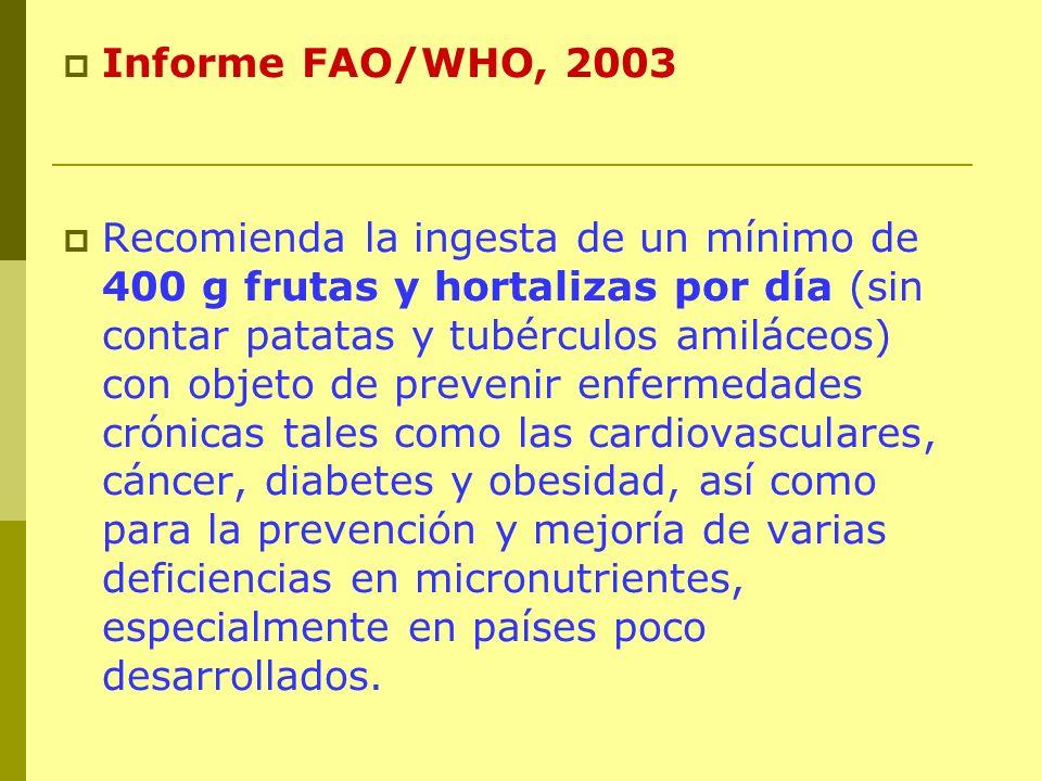 Informe FAO/WHO, 2003 Recomienda la ingesta de un mínimo de 400 g frutas y hortalizas por día (sin contar patatas y tubérculos amiláceos) con objeto d