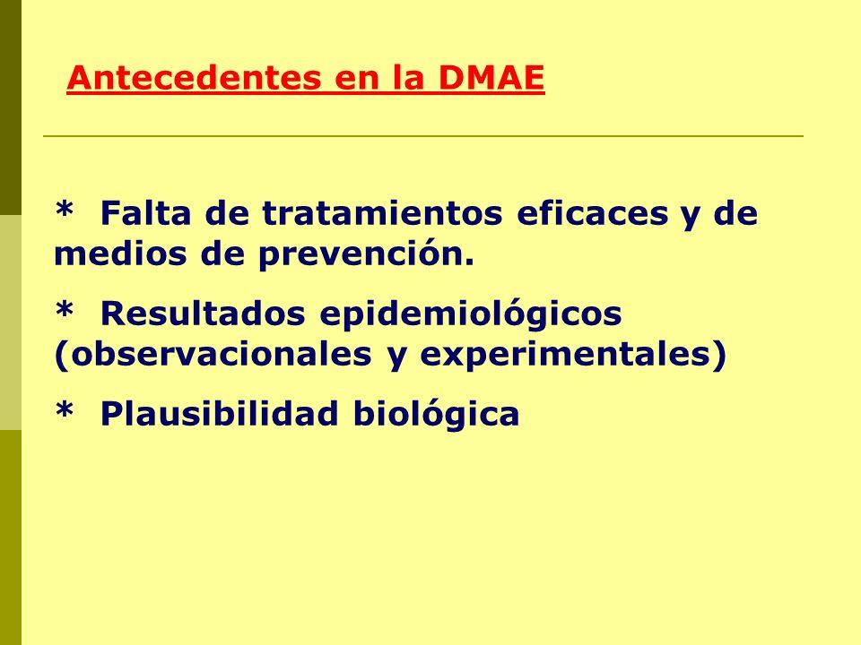 * Falta de tratamientos eficaces y de medios de prevención. * Resultados epidemiológicos (observacionales y experimentales) * Plausibilidad biológica