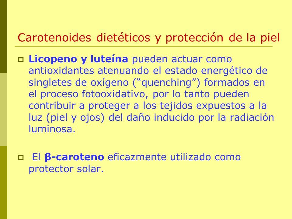 Carotenoides dietéticos y protección de la piel Licopeno y luteína pueden actuar como antioxidantes atenuando el estado energético de singletes de oxí