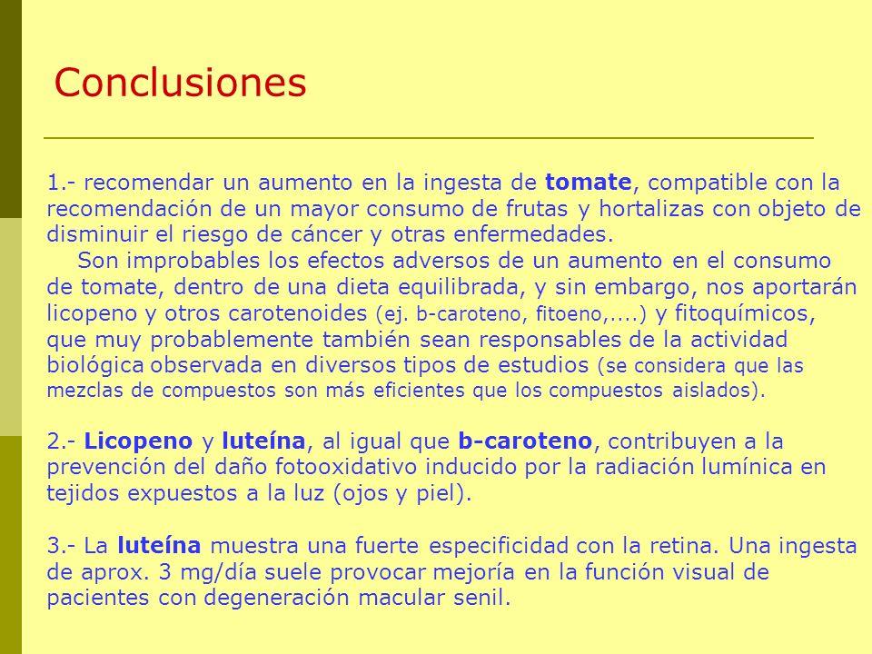 Conclusiones 1.- recomendar un aumento en la ingesta de tomate, compatible con la recomendación de un mayor consumo de frutas y hortalizas con objeto