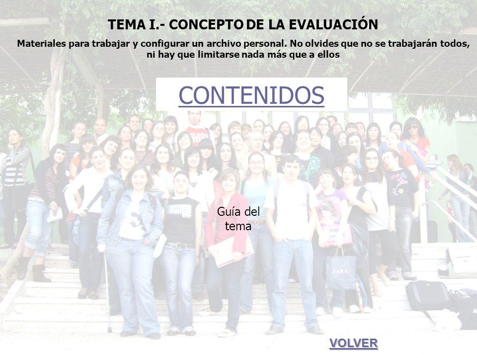 TEMA I.- Concepto de la evaluación CONTENIDOS 1.- 1.- La evaluación: ¿qué es.
