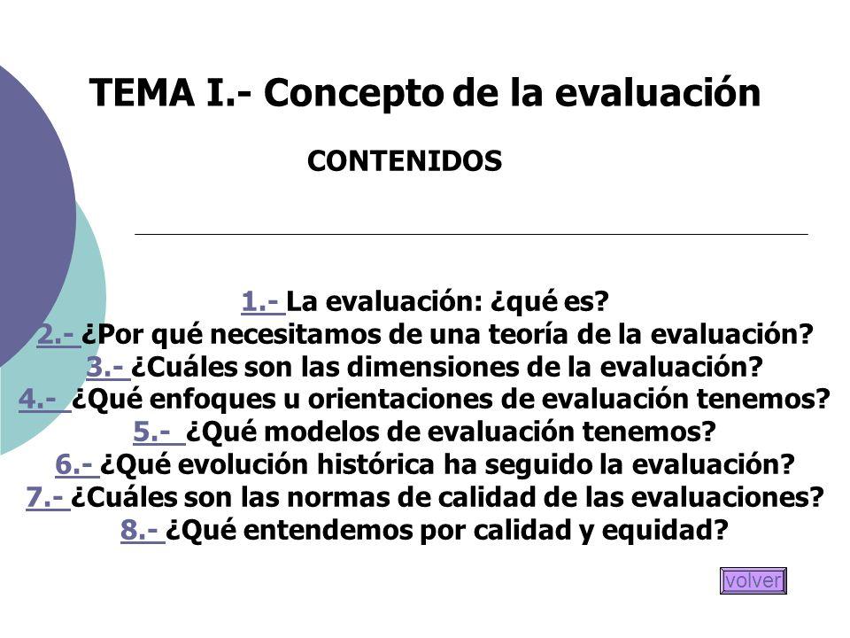 TEMA I.- Concepto de la evaluación CONTENIDOS 1.- 1.- La evaluación: ¿qué es? 2.- 2.- ¿Por qué necesitamos de una teoría de la evaluación? 3.- 3.- ¿Cu